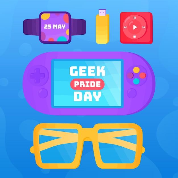Geek pride day konsole und brille mit geräten Kostenlosen Vektoren