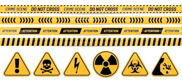 Gefahrenband und zeichen. aufmerksamkeit, gift, hochspannung, strahlung, biogefährdung und fallende warnzeichen. Premium Vektoren