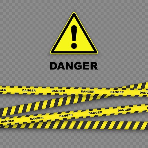 Gefahrenhintergrund mit den schwarzen und gelben gestreiften grenzen Premium Vektoren
