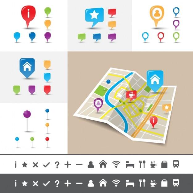 Gefaltete stadtplan mit gps-pin icons und marker Kostenlosen Vektoren