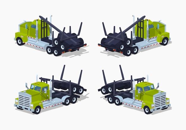 Gefalteter isometrischer 3d-log-truck Premium Vektoren