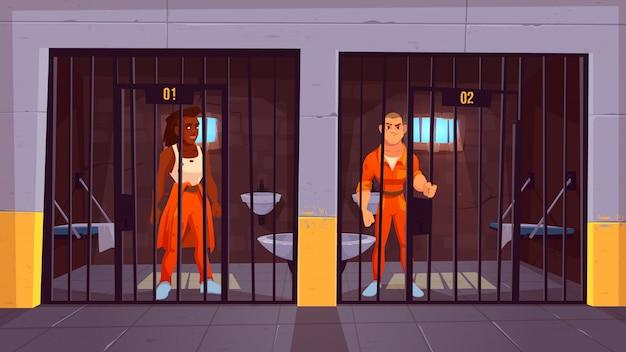 Gefangene im gefängnis. menschen in orange overalls in der zelle. verhaftete männliche sträflingscharaktere, die hinter metallstangen stehen. das leben im gefängnis. polizei, drinnen innenraum. cartoon-vektor-illustration Kostenlosen Vektoren
