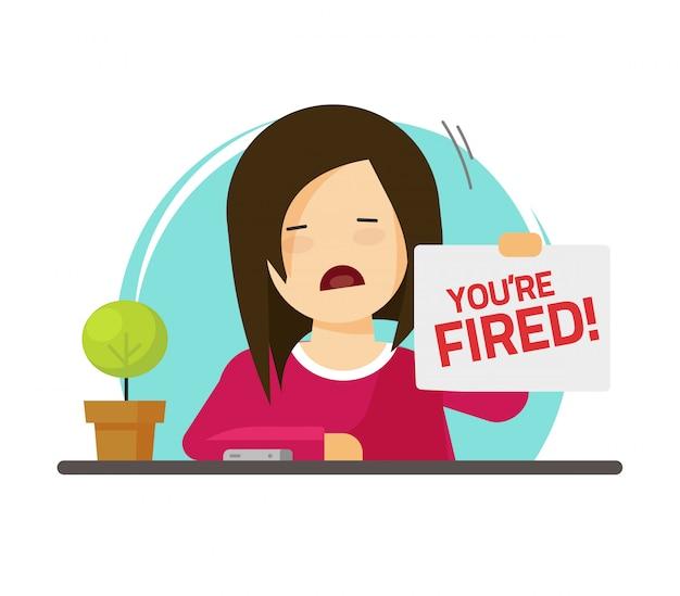 Gefeuert von der traurigen personenillustration des jobs Premium Vektoren