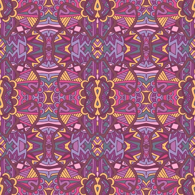 Gefliestes ethnisches blumenmuster für stoff. nahtloses muster des abstrakten geometrischen mosaikweines dekorativ. Premium Vektoren
