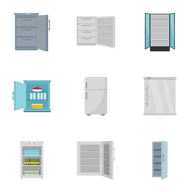 Gefrierschrank-icon-set, flache Premium Vektoren