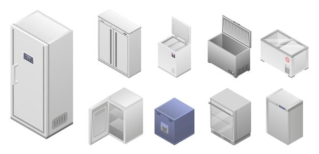 Gefrierschrank-icon-set. isometrischer satz gefrierschrankvektorikonen für das webdesign lokalisiert auf weißem hintergrund Premium Vektoren