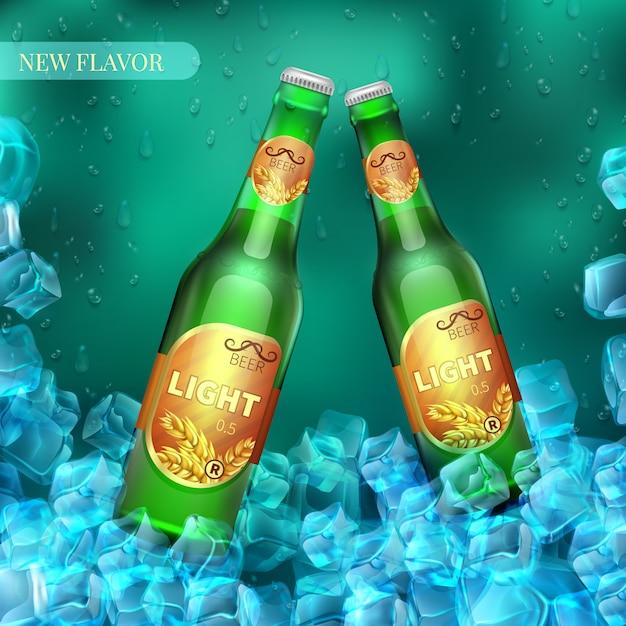 Gefrorene helle bierflaschen mit eiswürfeln. produkt vektor einzelhandel. abbildung des bieres im kalten eis Premium Vektoren