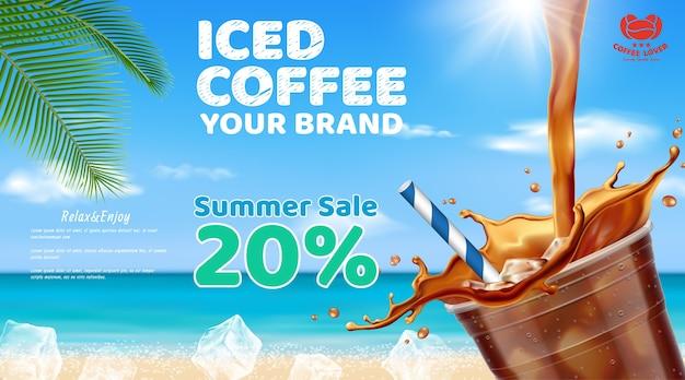 Gefrorener kaffee, der in mitnehmerschale gießt Premium Vektoren