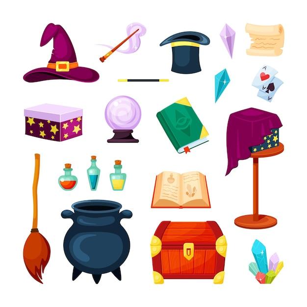 Gegenstände des magischen zauberers festgelegt Premium Vektoren