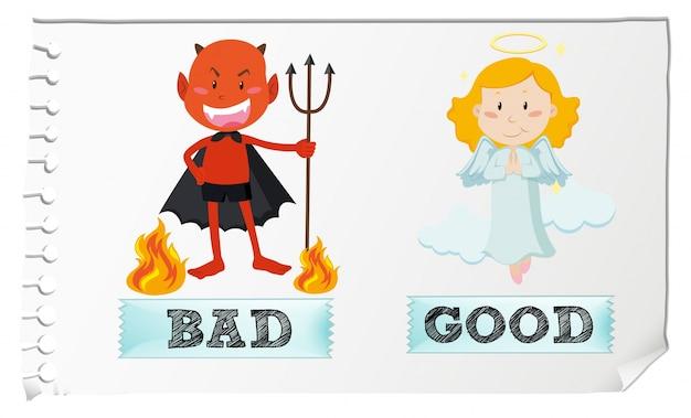 Gegenüber adjektive mit guten und schlechten Kostenlosen Vektoren