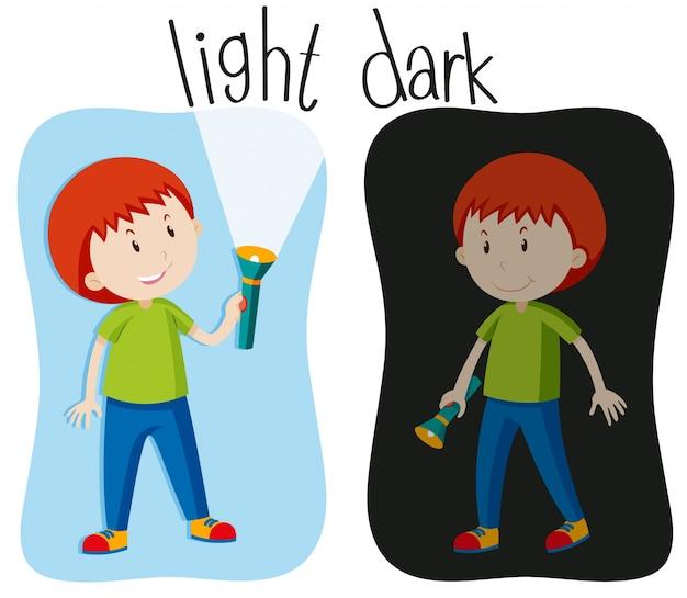 Gegenüber adjektive mit licht und dunkelheit Kostenlosen Vektoren