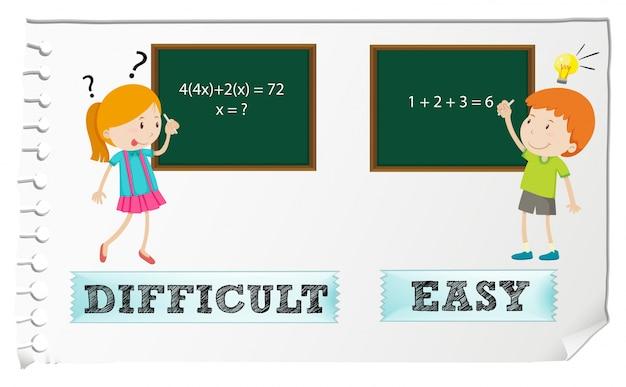 Gegenüber adjektive schwierig und einfach Kostenlosen Vektoren