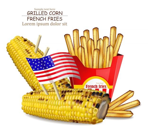 Gegrillter mais und pommes frites Premium Vektoren