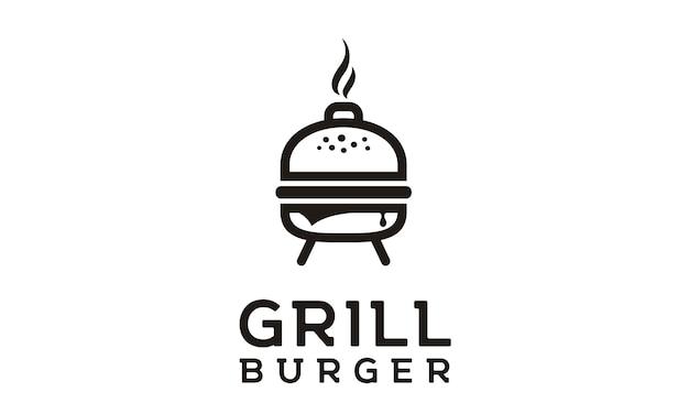 Gegrilltes burger logo design Premium Vektoren