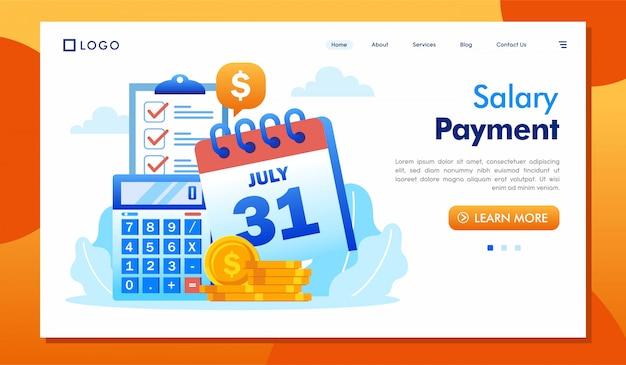 Gehaltszahlungslandungsseitenwebsite-illustrationsvektor Premium Vektoren