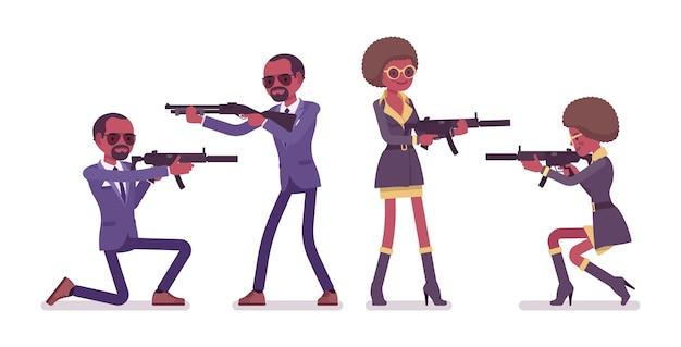 Geheimagent schwarzer mann und frau Premium Vektoren