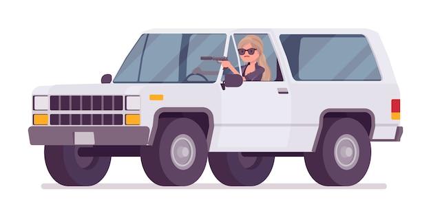 Geheimagentin frau, spionin des geheimdienstes, beobachterin entdeckt daten, sammelt politische, geschäftliche informationen, begeht unternehmensspionage, fährt auto. stil cartoon illustration Premium Vektoren
