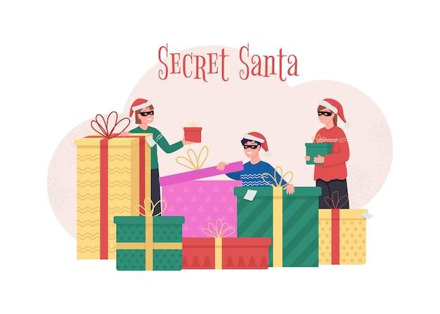Geheime santa konzeptillustration. geben sie ihrem kollegen ein überraschungsgeschenk. Premium Vektoren