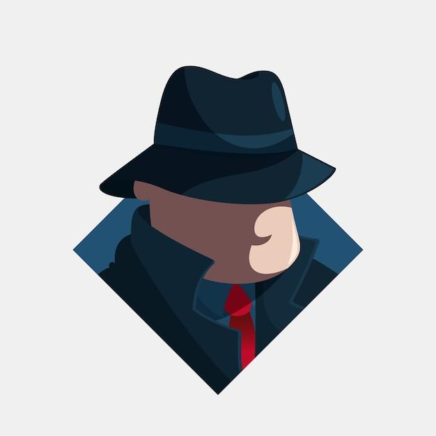 Geheimnisvolle mafia-charakterillustration Premium Vektoren