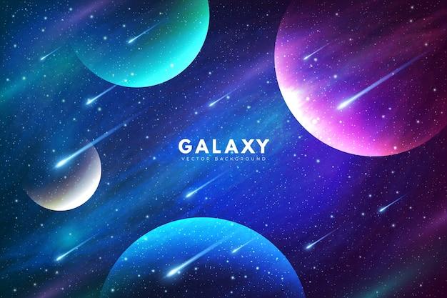 Geheimnisvoller galaxiehintergrund mit bunten planeten Kostenlosen Vektoren