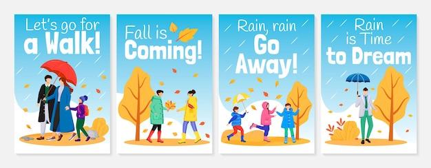 Gehen in regenplakat flache farbschablonen setzen illustration Premium Vektoren