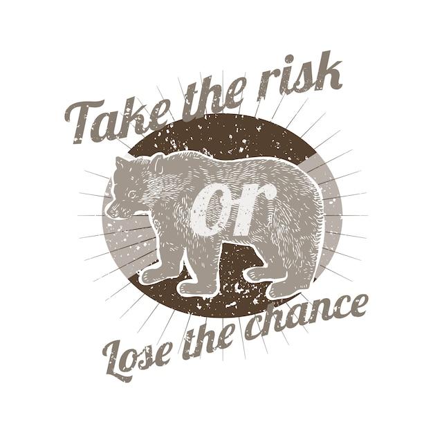 Gehen sie das risiko ein oder verlieren sie den chance-ausweisvektor Kostenlosen Vektoren