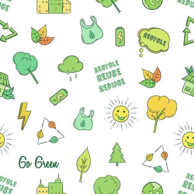 Gehen sie grün oder ökologie symbole in nahtlose muster mit farbigen doodle-stil Premium Vektoren