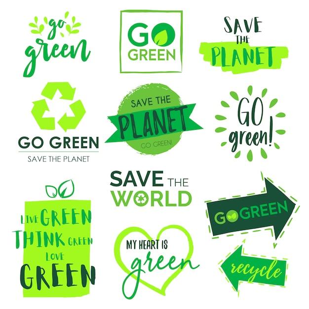 Gehen sie grün und sparen sie die planet badge collection Kostenlosen Vektoren