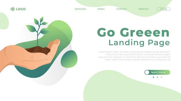 Gehen sie grüne flache landingpage illustration Premium Vektoren