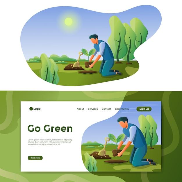 Gehen sie grüne illustration landing page Premium Vektoren