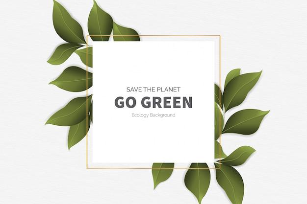 Gehen sie grüner moderner hintergrund mit blättern Kostenlosen Vektoren