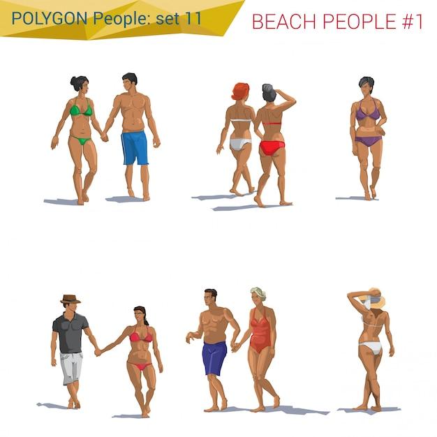 Gehende gesetzte illustrationen der polygonalen artstrandleute. Premium Vektoren