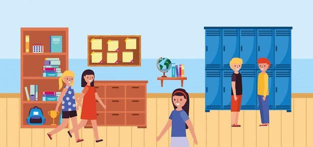 Gehende schüler im klassenzimmer Premium Vektoren