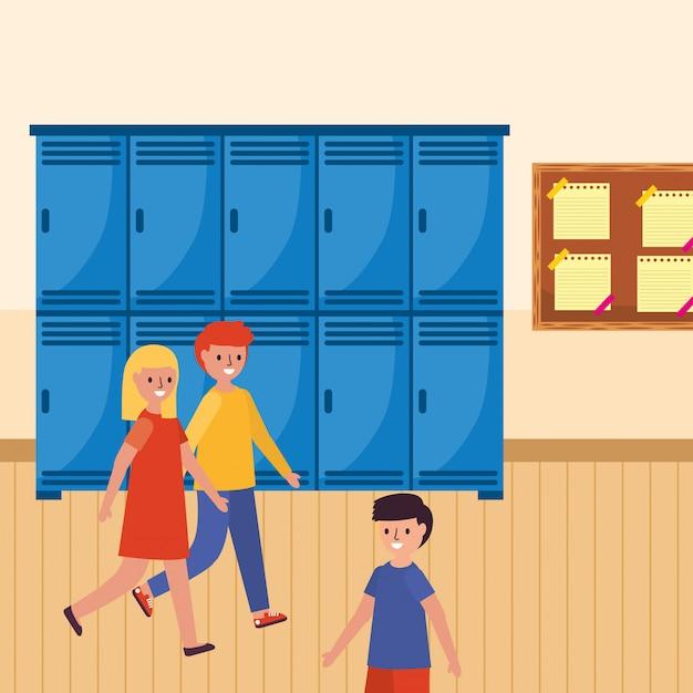 Gehende schüler in der schule Premium Vektoren