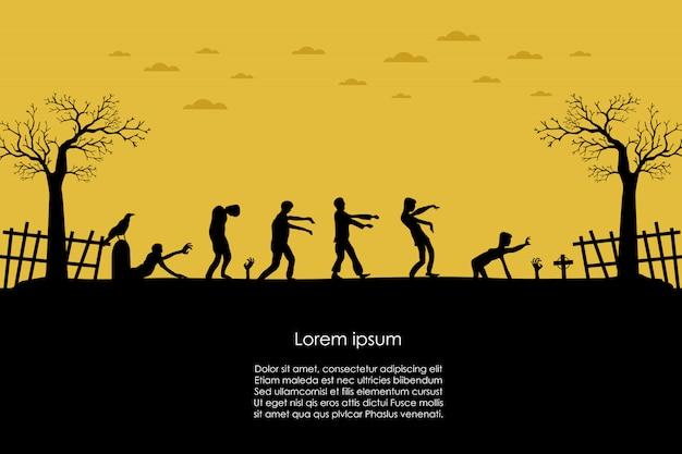Gehende silhouette des zombies gehen süßes sonst gibt's saures fahne Premium Vektoren