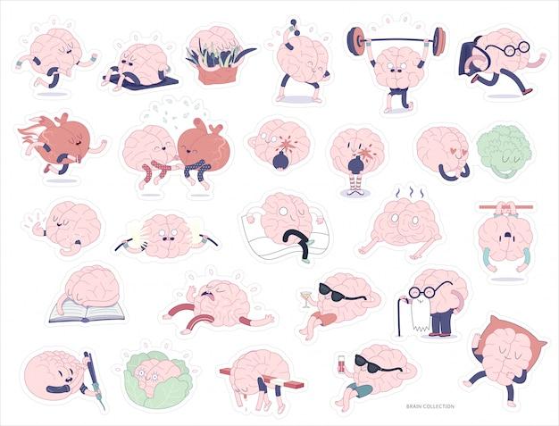 Gehirn aufkleber druckbare set Premium Vektoren