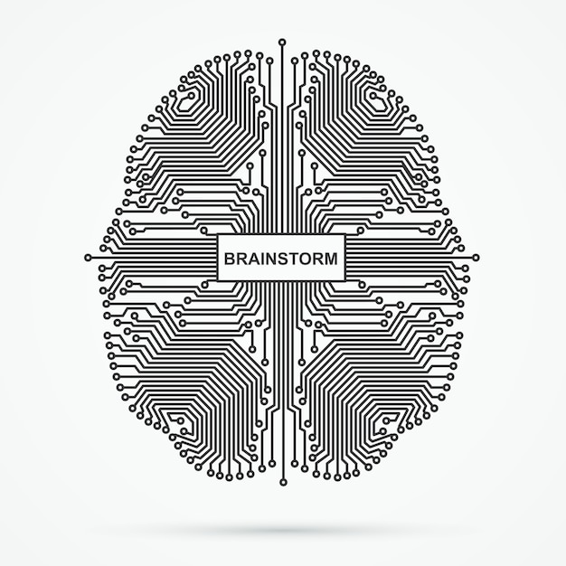 Gehirn. brainstorming, power thinking technologie. Premium Vektoren