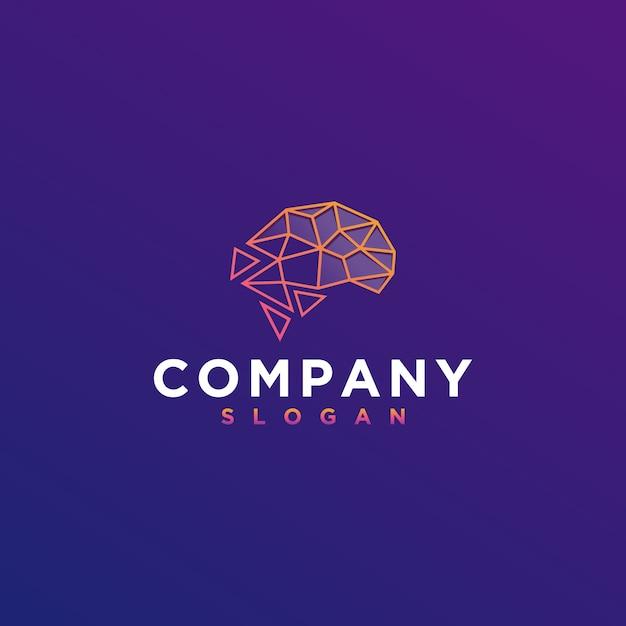 Gehirn-digital-logo Premium Vektoren