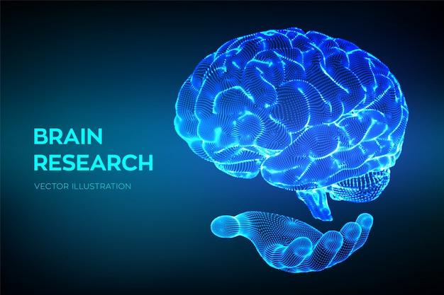 Gehirn. forschung am menschlichen gehirn. neurales netzwerk. iq-tests, technologie zur virtuellen emulation künstlicher intelligenz. Premium Vektoren