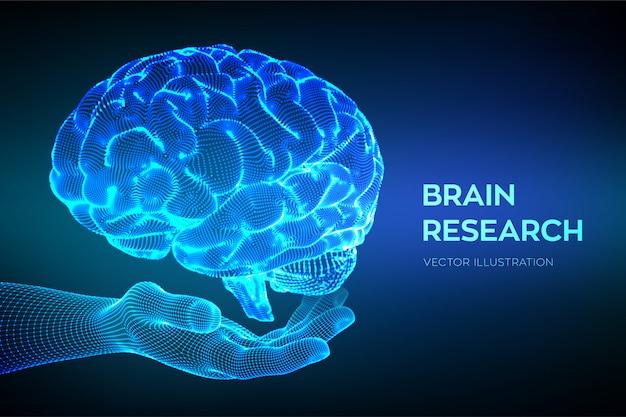 Gehirn in der hand. forschung am menschlichen gehirn. neurales netzwerk. Kostenlosen Vektoren
