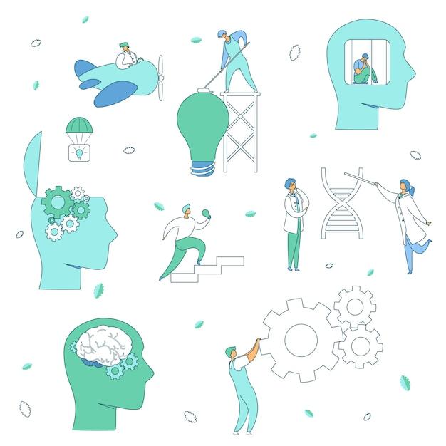 Gehirn-neurologie-psychologie-konzept Premium Vektoren