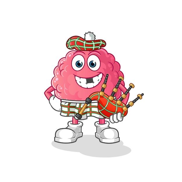 Gehirn schottisch mit dudelsack. zeichentrickfigur Premium Vektoren