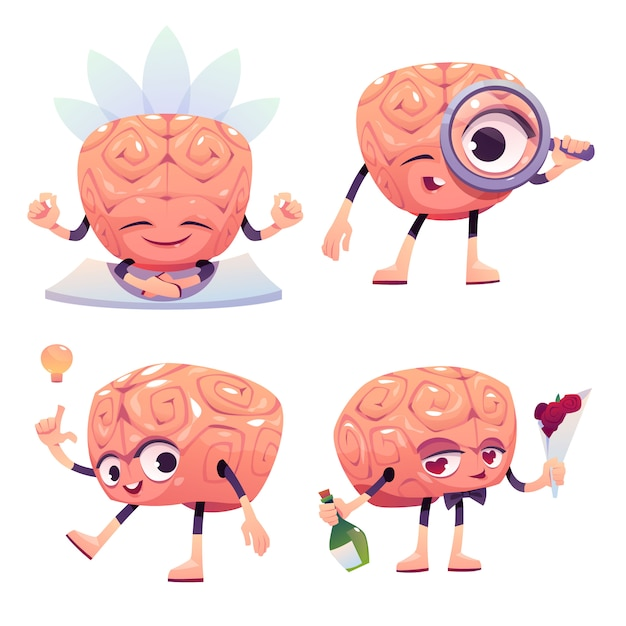Gehirnfiguren, cartoon-maskottchen mit lustigem gesicht Kostenlosen Vektoren
