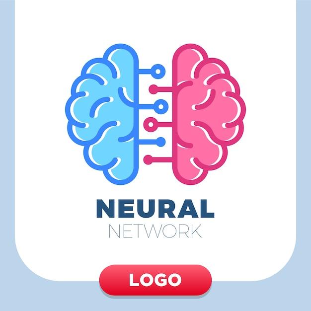 Gehirnlogoikone des neuralen netzes menschliche. Premium Vektoren