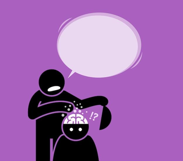 Gehirnwäsche oder gehirnwäsche. ein mann unterzieht eine andere person einer gehirnwäsche, indem er den kopf öffnet und das gehirn reinigt, während er ihm etwas erzählt. Premium Vektoren
