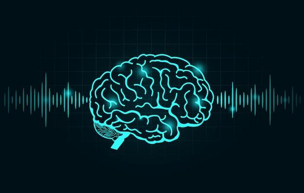Gehirnwelle und frequenzlinie auf schwarzem diagramm Premium Vektoren