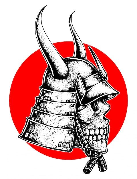 Gehörnter samurai-kriegshelm-schädel Premium Vektoren