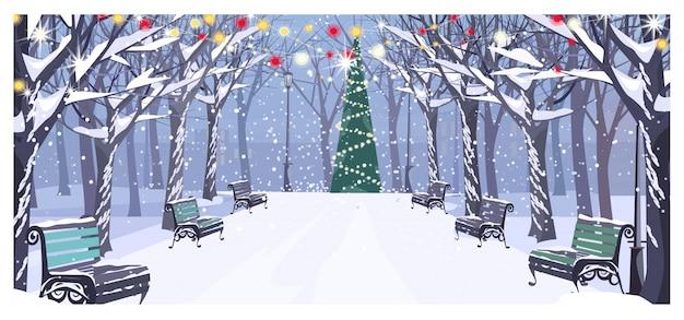 Gehweg im winterstadtpark mit bänke und verziertem tannenbaum Kostenlosen Vektoren