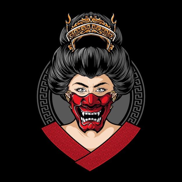 Geisha, die hannya maskenvektor trägt Kostenlosen Vektoren