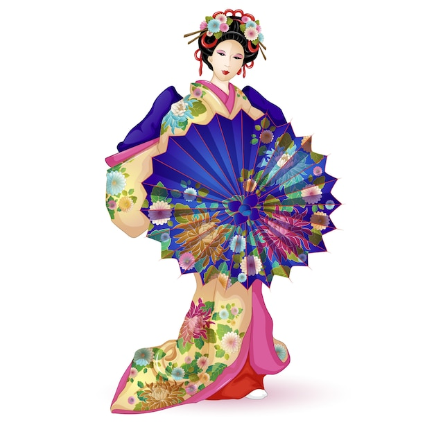 Geisha im kimono mit regenschirm. Premium Vektoren